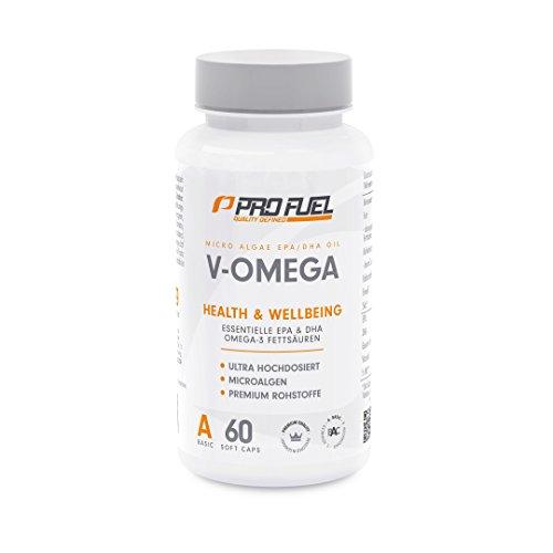 Hochwertige Vegane Omega 3 Fettsäuren mit Vitamin E | Die pflanzliche Alternative zu Fischöl-Kapseln für Ihr Immunsystem | Algen-Öl mit hochdosiertem EPA & DHA | PROFUEL® V-OMEGA - 60 Soft Caps