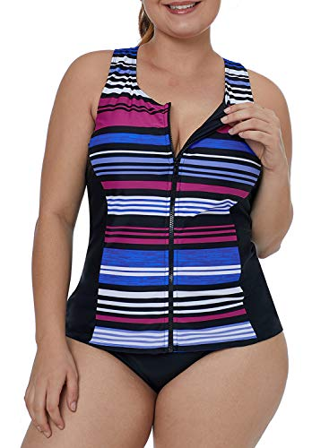 Ecrocoo Women's Plus Size Swimwear Sleeveless Top Zipper Front Rash Guard Striped XXXL ()