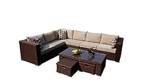 YAKOE 50126r Papaver exteriores 8plazas Modular ratán sofá en esquina de ratán muebles de jardín Plus funda impermeable, marrón, 285x 220x 68cm
