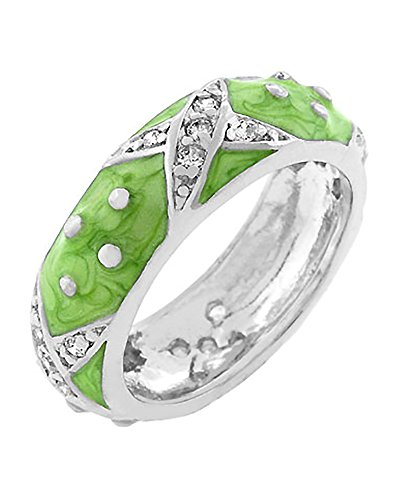 Dot Enamel Band - Rhodium Plated Apple Green Enamel Overlay Eternity Ring with Handset Clear CZ Xs and Polk-a-dots Size 10