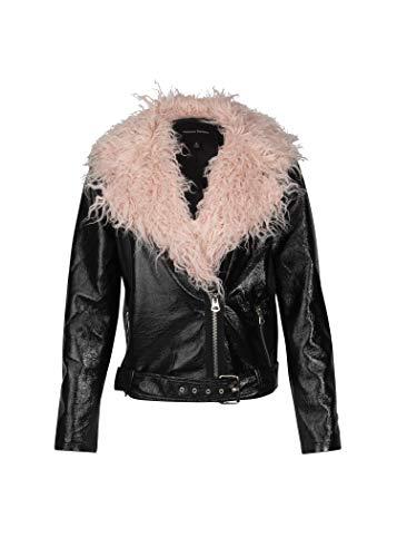 ns Black Vinyl Faux Leather Biker Moto Jacket Faux Fur Collar – Size Large ()