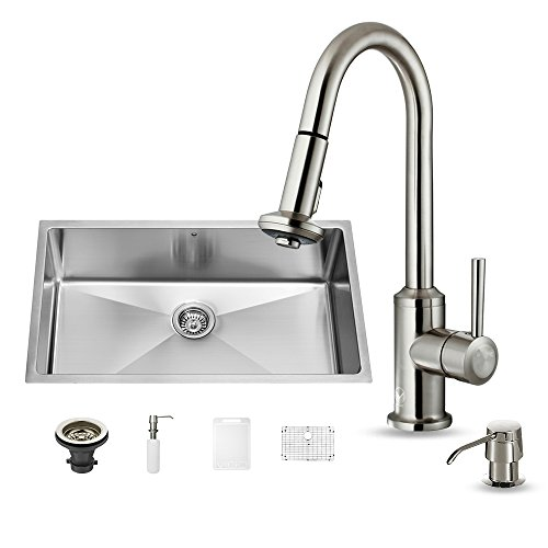 (VIGO 32 inch Undermount Single Bowl 16 Gauge Stainless Steel Kitchen Sink with Astor Stainless Steel Faucet, Grid, Strainer and Soap Dispenser)