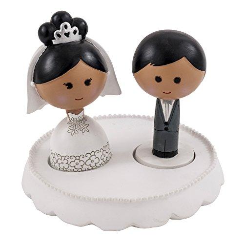 Ivy Lane Design AM1027 Kokeshi Cake Top Set: Base, black Hair/Dark Skin Bride & Groom, Dark/Black (Wedding African American Topper Cake)