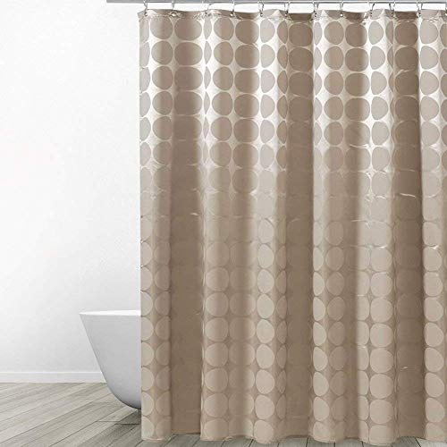 Ufatansy Uforme Home Fashion Geometric Shower Curtain X-Long Fabric Bathroom Curtain Waterproof and Anti-Stain with Lead Weight, Mocha, 72 Inch by 78 Inch