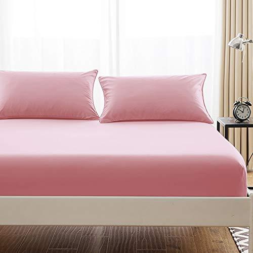 ボックスシーツ 毛玉なし 綿100% シーツ マチ部分約30cm ベッドシーツ マットレスカバー ベッドカバー (セミダブル・120X200cm, ピンク)