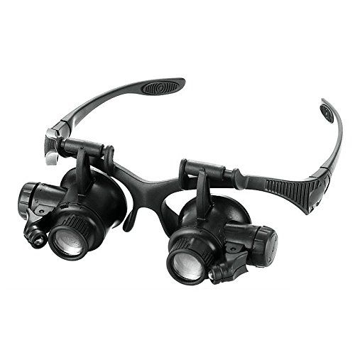 Funnytoday365 10X 15X 20X 25X Led Magnifier Double Eye Glasses Loupe Lens Jeweler Watch Repair Magnifier With 2 Led Lights Measurement - Measurements Eyeglass