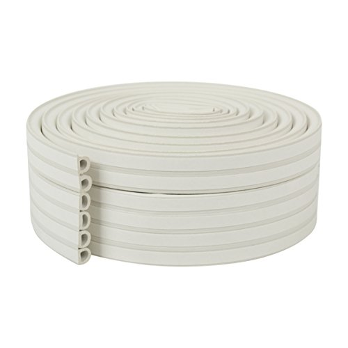 Garage Door Bottom Weatherstrip (Duck Brand Heavy Duty Self-Adhesive Weatherstrip Seal For Large Gaps, White, 3/8 inch x 1/4 inch x 17', 3 Seals, 285231)