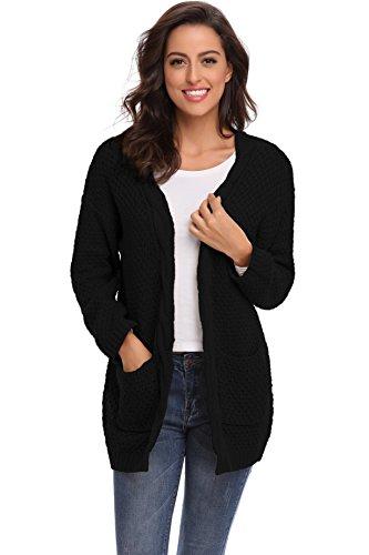 Puffed Sleeve Cardigan - SHEKINI Women's Sweaters Chunky Pointelle Knit Puffed Sleeve Oversized Long Cardigans with Pockets (Large/(US 12-14), Black)