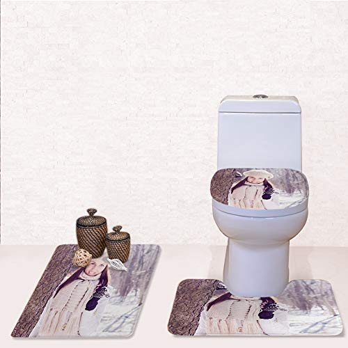 Bathroom Rug Mats Toilet lid Toilet Bath Mat, Smiling Lovely Young Woman Winter,3 Piece Set