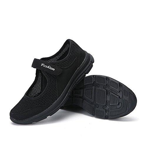 POHOK Women Shoes Summer Sandals Anti Slip Sports Mesh Velcro Lightweight Casual Shoes(41,Black) ()