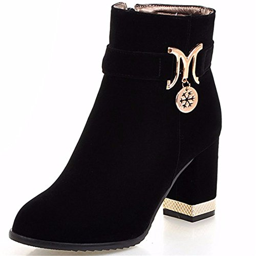high suede Autumn Black metal code and heeled female boot with winter thick boots boots tgYwgFq