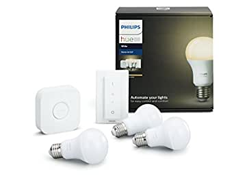 Philips Hue White - Kit de 3 bombillas LED E27 con puente e interruptor, 9.5 W, iluminación inteligente, luz blanca cálida regulable, compatible con Apple Homekit y Google Home