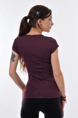 Mujer hadas Camisa Verano redondo Camisa Cuello Ropa Ciruela Negro de manga de corta mariposa Top 3elfen con W7tUvW