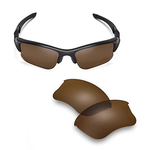 (Walleva Replacement Lenses Or Lenses/Rubber Kit for Oakley Flak Jacket XLJ Sunglasses - 41 Options (Brown - Mr. Shield)