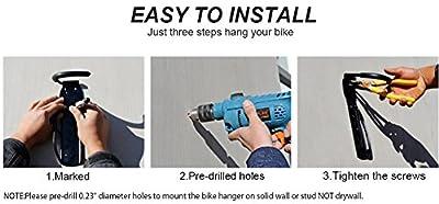 Bike Rack Garage Dirza Wall Mount Bike Hanger Storage System Vertical Bike Hook for Indoor Shed - Easily Hang/Detach - Heavy Duty Holds up to 65 lb with Screws Black