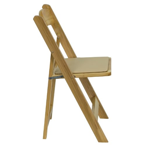 Offex OFX-108279-FF Natural Wood Folding Chair with Vinyl Padded Seat by Offex