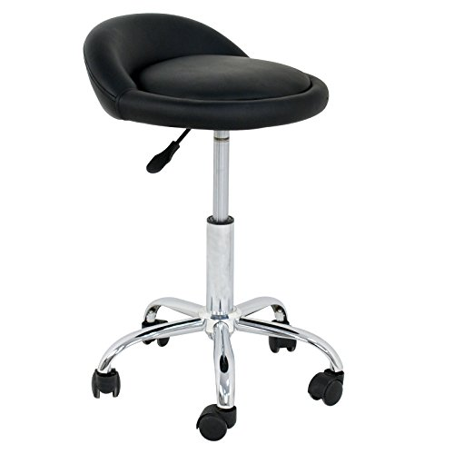 BBBuy Adjustable Relief Hydraulic Massage Stool Facial Spa Tattoo Beauty Rolling Bar Stools Swivel Hydraulic Chair with Back Rest (Black/White)