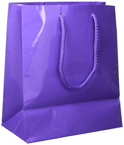 Amscan Solid Glossy Bag Medium, 12 Ct., New Purple ()