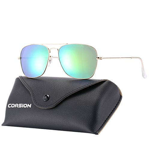 COASION Polarized Aviator Sunglasses Irregular Full Mirror Lens Metal Frame for Men Women with Leather Case 55mm(Green - Aviator Small Square Sunglasses