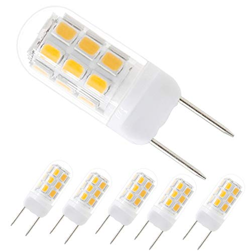 G8 Led Light Bulb, Dimmable 120V 3W Led 20W/35W Halogen Replacement Bulb for Under Counter Kitchen Lighting, Under-Cabinet Light and Puck Light 5-Pack(Warm White)
