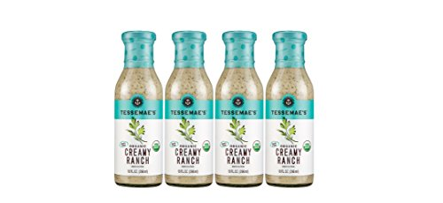 (Tessemae's Organic Creamy Ranch Dressing 4 pack, Whole30 Certified, keto diet approved, USDA Organic, soy-free, dairy-free, gluten-free, sugar-free)