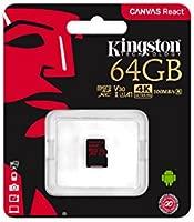 Kingston Canvas React, Tarjeta MicroSD (SDCR de 64 GB SP, Clase 10), Negro