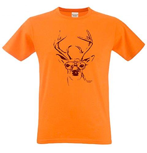 T-Shirt mit Motiv - Wiesn Hirsch mit Brille - Lustiges Outfit auch als Geschenk passend zum Oktoberfest in Orange 3