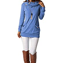 BIUBIU Women's Casual Long Sleeve Button Cowl Neck Slim Blouse Tops With Pocket