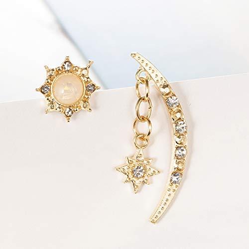 (ocijf179 Moon Sun Star Drop Earrings, Vintage Women Moon Sun Star Rhinestone Inlaid Asymmetric Stud Earrings Gift Golden)