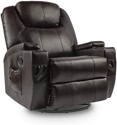 Lauraland Recliner Chair, PU Leather Massage Recliner Ergonomic Lounge Heated 360 Degree Swivel Recliner Sofa for Living Gaming Room, Headrest Adjustable Brown