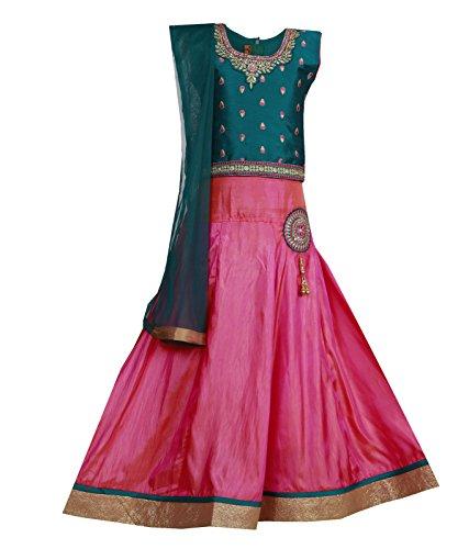 - Ashwini Girls Skirt Top (Green, 4-5 Years)