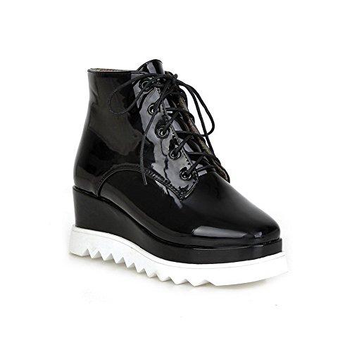 Allhqfashion Damesschoenen-hakken Vierkante Dichte Teen Blend Materialen Lage Laarzen Zwart