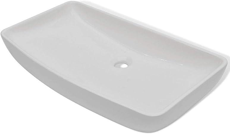 Tidyard Lavabo Vasque a Poser Salle de Bain Carr/ée C/éramique Blanc 41,5 x 41,5 x 12 cm Design El/égant