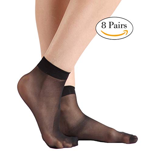 INCHER Stockings for Women Ankle, Black Dress Socks High Heeled Shoes Ankles Back to school Ankle Socks Pantyhose Knee Highs Hosiery, 8 Pairs Womens Black from INCHER
