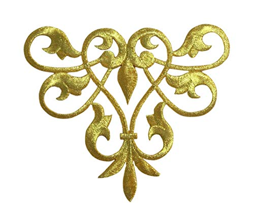 Metallic Gold - Line Flow - Abstract Swirl - Fleur de lis Design - Iron on Applique/Embroidered Patch ()
