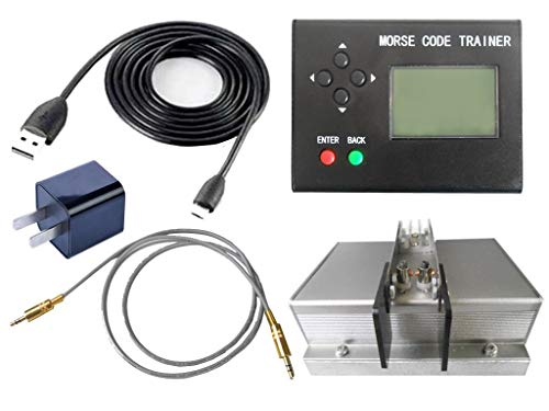 (Morse Code Trainer, cjc LCD Telegraph Short Wave Radio Station Telegraphy CW Auto Key Radio Transmitter - Full Set)