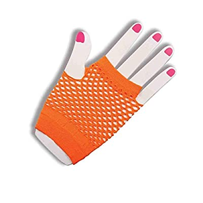 Orange Fishnet Fingerless Wrist Gloves: Toys & Games