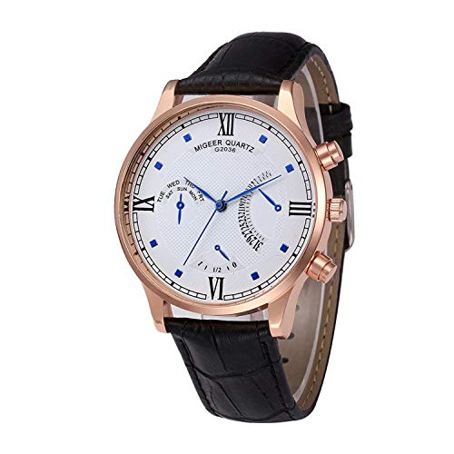 Amazon.com : SUPERON reloj Hombre Rose Gold Mens Watches Top Luxury PU Leather Wristwatch Mens Gift Quartz Watch Relogio Masculino(D, 1) : Sports & Outdoors
