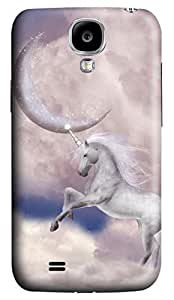 Brian114 Samsung Galaxy S4 Case, S4 Case - 3D Print Pattern Hard Cover for Samsung Galaxy S4 I9500 Unicorn With Moon Extremely Protective Case for Samsung Galaxy S4 I9500