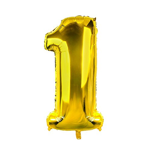 Konsait Gold 40Inch Number 1 Foil Balloons, Giant Jumbo Foil Helium Balloons for Graduation Grad Decorations Birthday Party Decor New Year Eve Party Festival Party Favors Supplies for $<!--$4.99-->