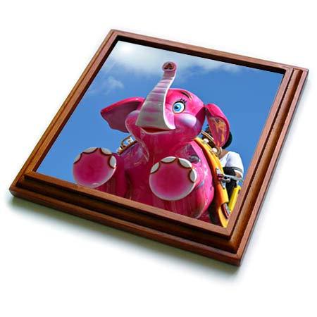 3dRose Susans Zoo Crew Scenery - kid on pink elephant ride - 8x8 Trivet with 6x6 ceramic tile (trv_294150_1)
