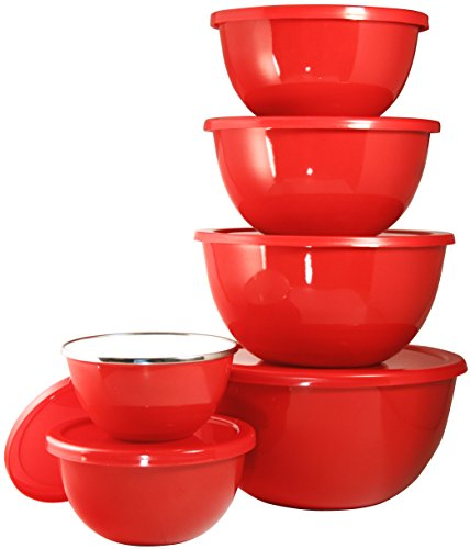 Calypso Basics by Reston Lloyd 12-Piece Enamel on Steel Bowl Set with Airtight Lids, Red