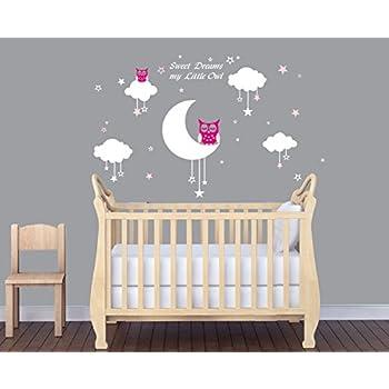 LUCKKYY Sweet Dreams My Little Owl Wall Decal Vinyl Wall Sticker Baby  Nursery Decor Kids Room