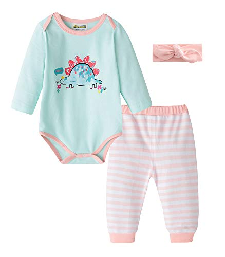 Fiream Baby Girls Cotton Print Bodysuits Longsleeve Stripe Clothing Sets(BA0701,0-6M) -