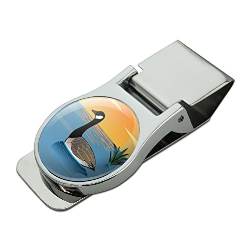 Canadian Goose Geese Swimming Canada Satin Chrome Plated Metal Money Clip (Clip Money Duck)