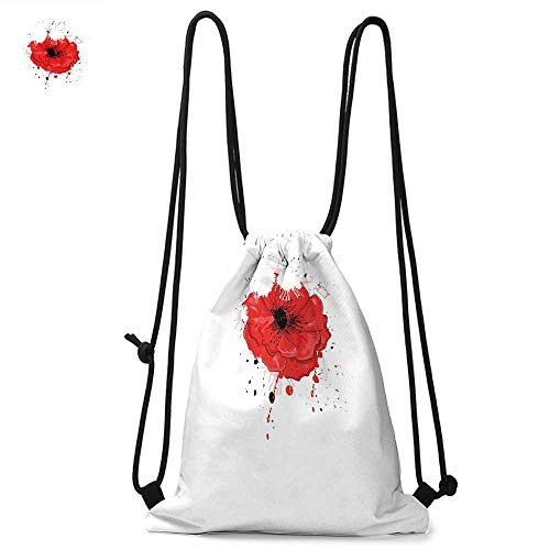 Poppy Durable Drawstring Backpack Head of a Herbaceous Plant Opiate Flower with Messy Color Splashes Drawing StyleSuitable for carrying around W13.8 x L17.7 Inch Red White - Splash Vaude