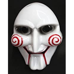 JUNGSON--Halloween Cosplay Costume Clown Doll Fun Unisex Saw Puppet Horror Scary Mask