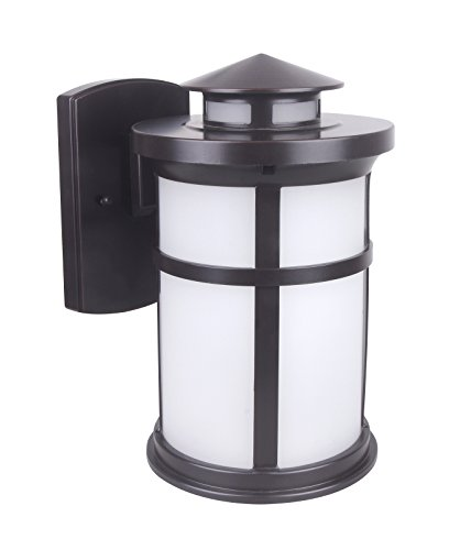 LIT-PaTH Outdoor LED Wall Lantern, Wall Sconce as Porch Lighting Fixture, 11.5W (100W Equivalent), 1050 Lumen, Aluminum Housing Plus Glass, Oil Rubbed Bronze, ETL and ES Qualified