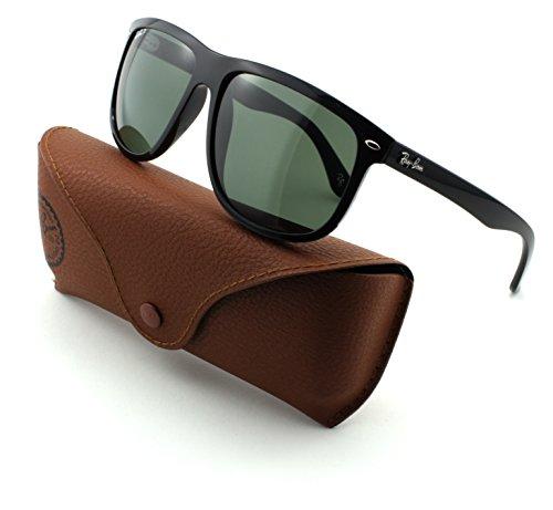 Ray-Ban RB4147 Unisex Square Sunglasses (Black Frame/Crystal Green Polarized Lens 601/58, 60)