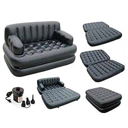 Delightful 5 In 1 Sofa Cum Bed Leather Look Air Lounge
